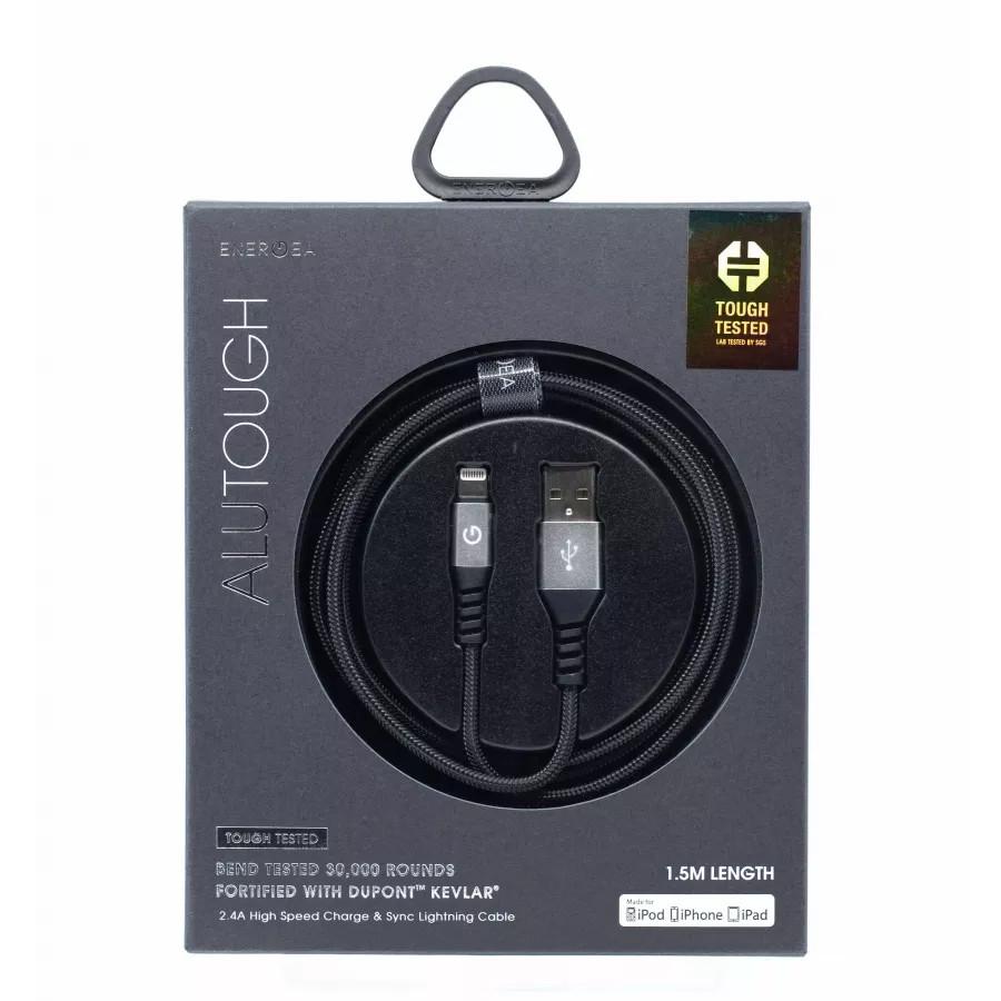 Купить Кабель EnergEA Alutough Kevlar Lightning MFI 1.5м - Серебристый в Сочи
