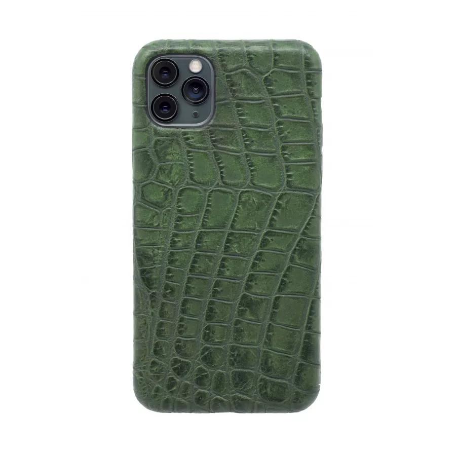 Чехол из натуральной кожи для iPhone 11 Pro Max - Amazonian green. Вид 3