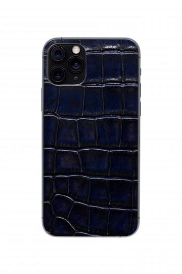 Защитная наклейка из натуральной кожи для iPhone 11 Pro, Вид Темно-синий