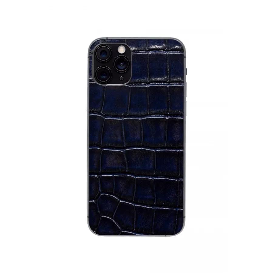 Защитная наклейка из натуральной кожи для iPhone 11 Pro, Вид Темно-синий. Вид 1