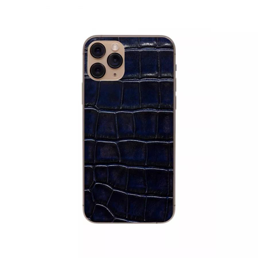 Защитная наклейка из натуральной кожи для iPhone 11 Pro, Вид Темно-синий. Вид 4