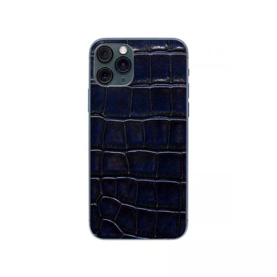 Защитная наклейка из натуральной кожи для iPhone 11 Pro, Вид Темно-синий. Вид 2
