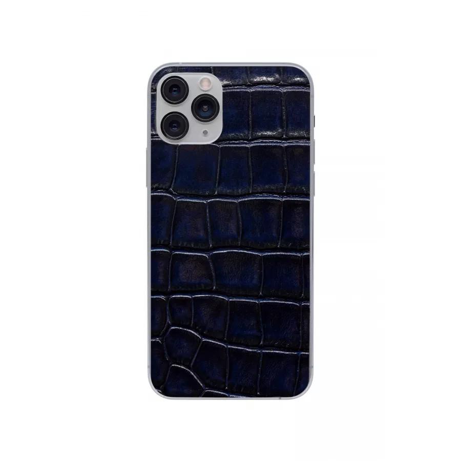 Защитная наклейка из натуральной кожи для iPhone 11 Pro, Вид Темно-синий. Вид 3