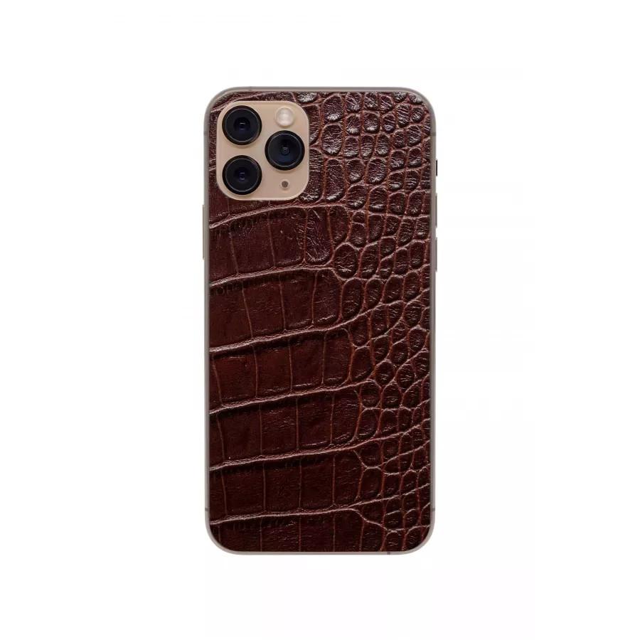 Защитная наклейка из натуральной кожи для iPhone 11 Pro, Вид Коричневый. Вид 3