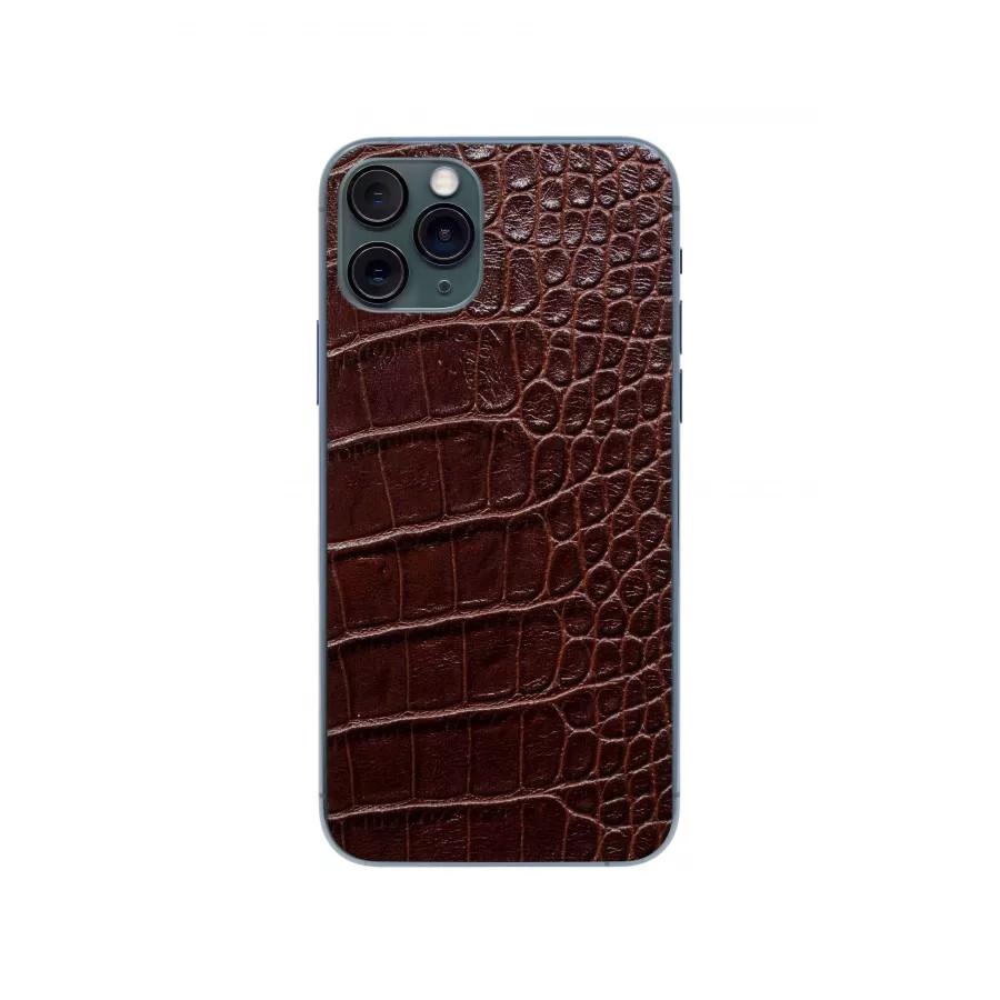 Защитная наклейка из натуральной кожи для iPhone 11 Pro, Вид Коричневый. Вид 1