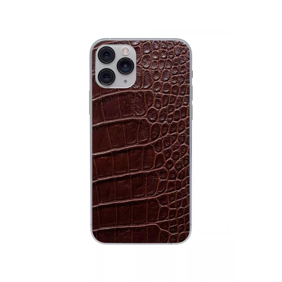 Защитная наклейка из натуральной кожи для iPhone 11 Pro, Вид Коричневый. Вид 4