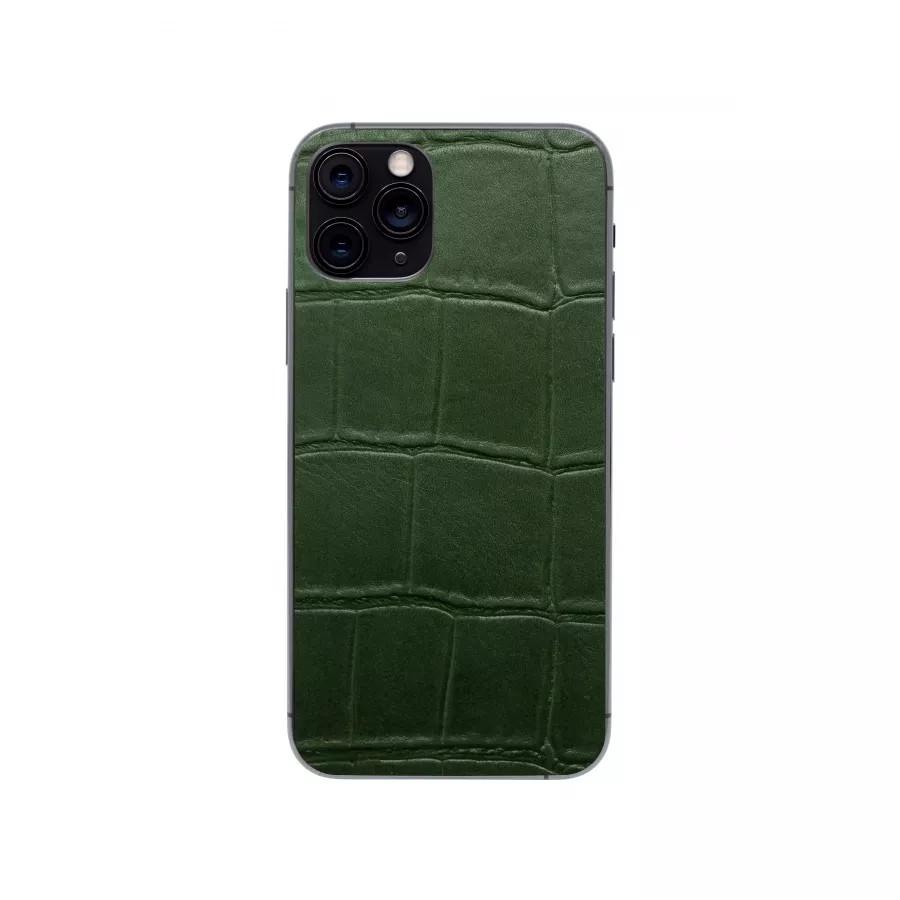 Защитная наклейка из натуральной кожи для iPhone 11 Pro, Вид Зеленый 1. Вид 4