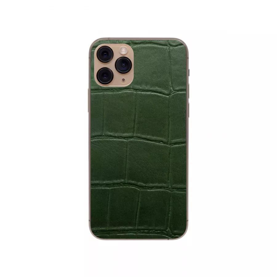 Защитная наклейка из натуральной кожи для iPhone 11 Pro, Вид Зеленый 1. Вид 1