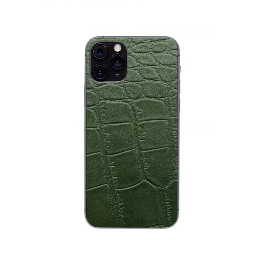 Защитная наклейка из натуральной кожи для iPhone 11 Pro, Вид Зеленый 3. Вид 4