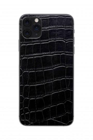 Защитная наклейка из натуральной кожи для iPhone 11 Pro Max, Вид Черный 1. Вид 1