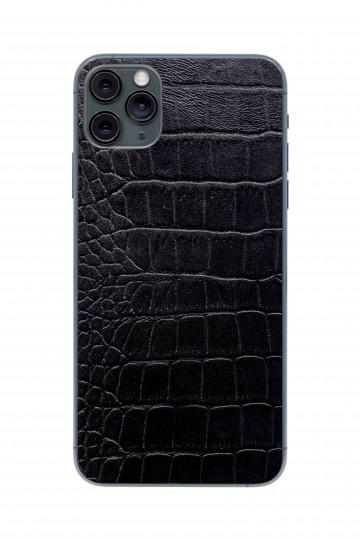 Защитная наклейка из натуральной кожи для iPhone 11 Pro Max, Вид Черный 2. Вид 1
