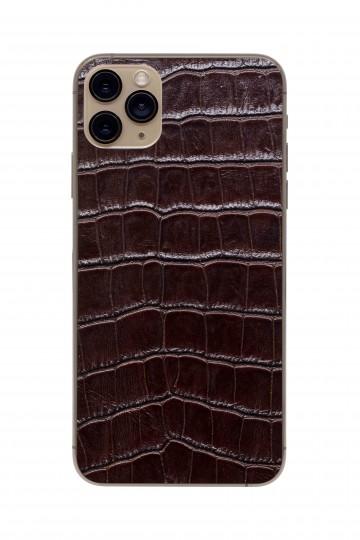 Защитная наклейка из натуральной кожи для iPhone 11 Pro Max, Вид Коричневый 2. Вид 1