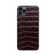 Защитная наклейка из натуральной кожи для iPhone 11 Pro Max, Вид Коричневый 1