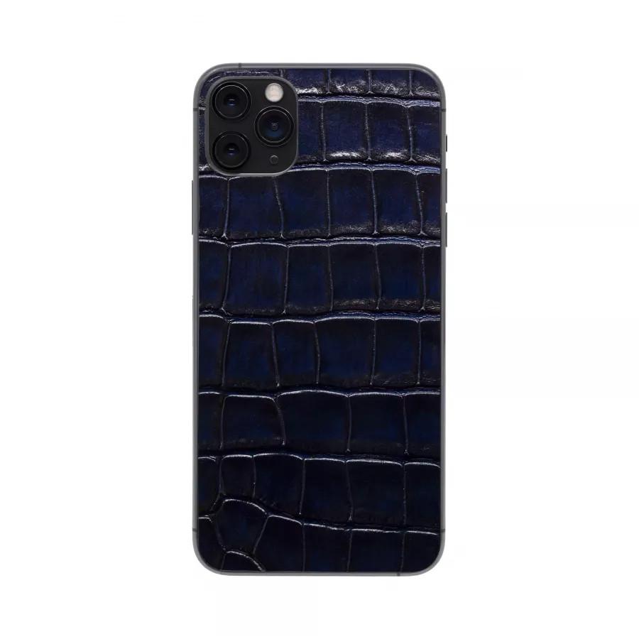 Защитная наклейка из натуральной кожи для iPhone 11 Pro Max, Вид Темно-синий. Вид 3