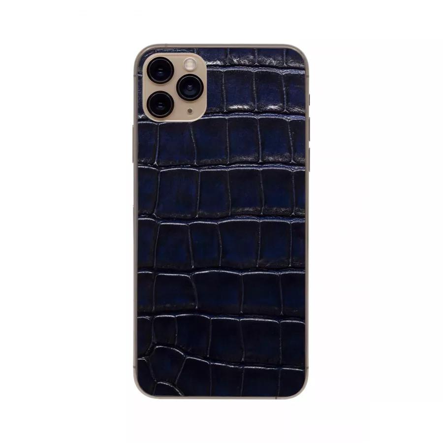 Защитная наклейка из натуральной кожи для iPhone 11 Pro Max, Вид Темно-синий. Вид 2