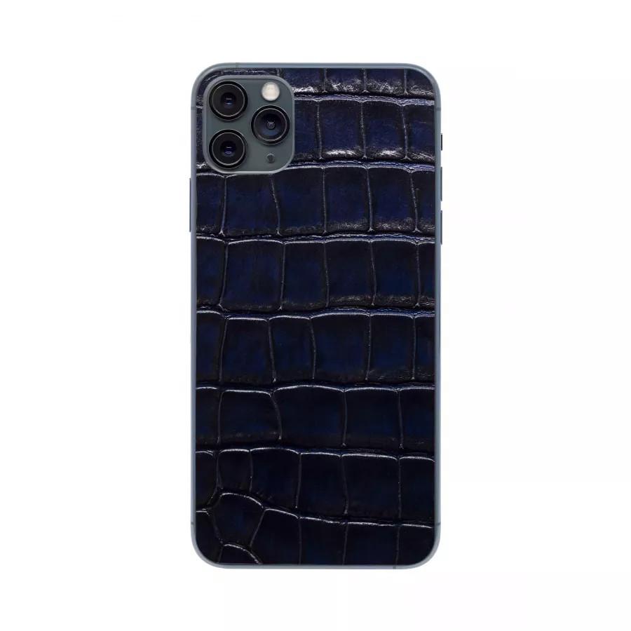Защитная наклейка из натуральной кожи для iPhone 11 Pro Max, Вид Темно-синий. Вид 4