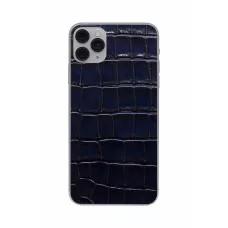 Защитная наклейка из натуральной кожи для iPhone 11 Pro Max, Вид Темно-синий
