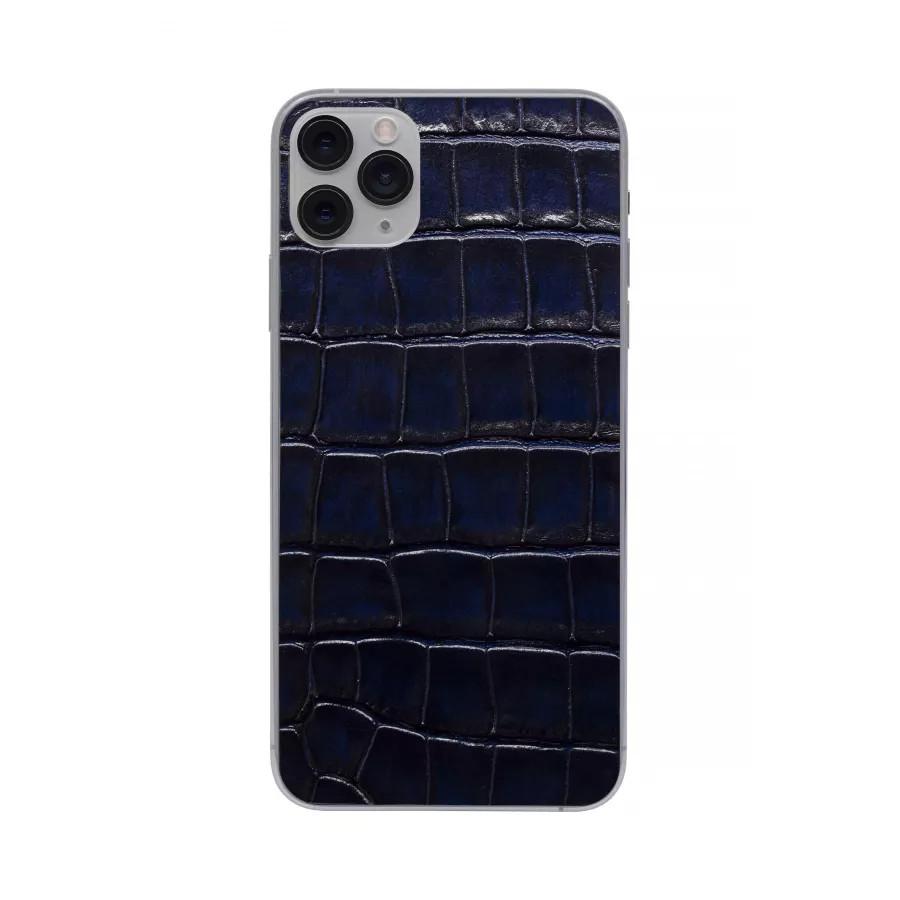 Защитная наклейка из натуральной кожи для iPhone 11 Pro Max, Вид Темно-синий. Вид 1