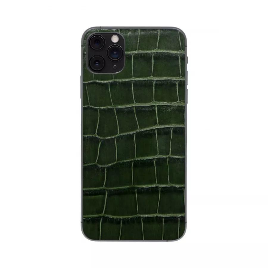 Защитная наклейка из натуральной кожи для iPhone 11 Pro Max, Вид Темно-зеленый. Вид 3