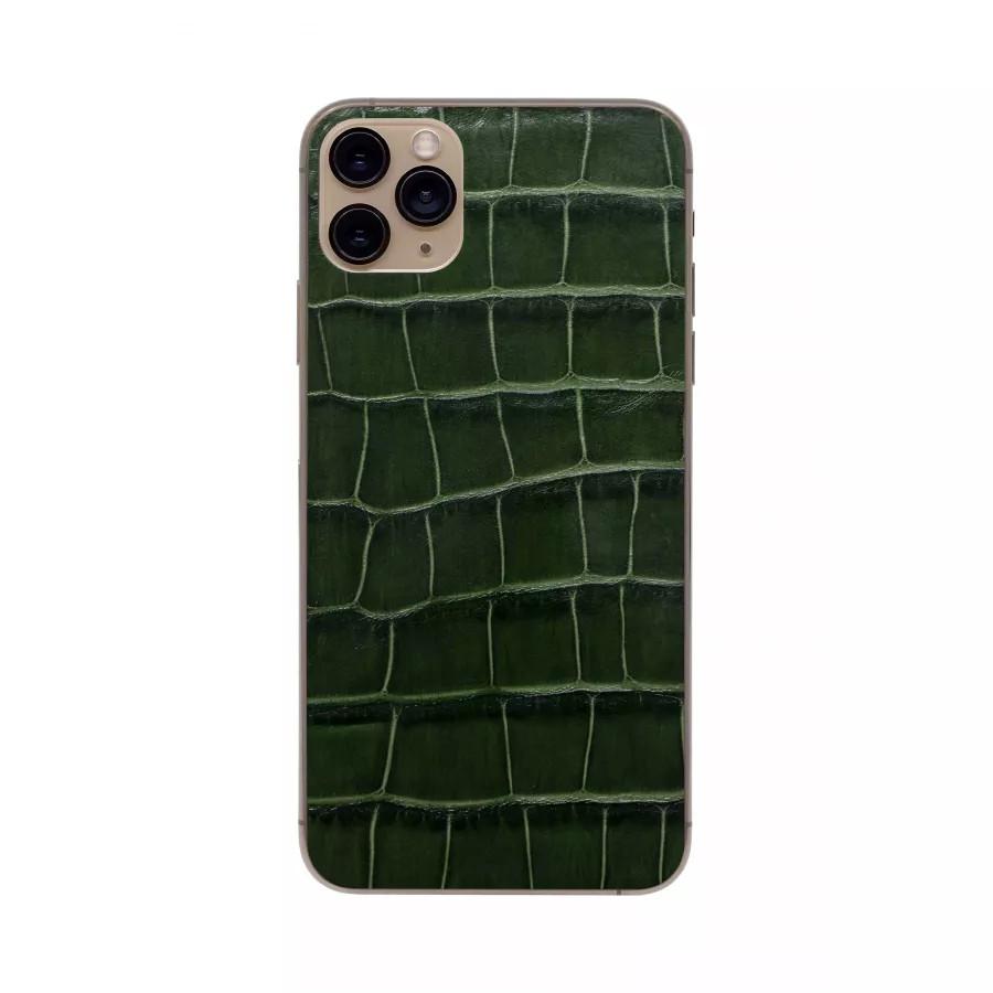 Защитная наклейка из натуральной кожи для iPhone 11 Pro Max, Вид Темно-зеленый. Вид 2