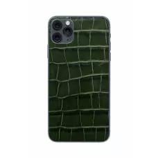 Защитная наклейка из натуральной кожи для iPhone 11 Pro Max, Вид Темно-зеленый