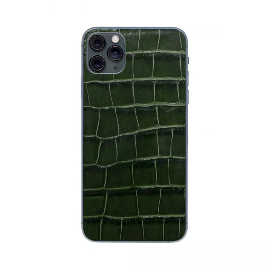 Защитная наклейка из натуральной кожи для iPhone 11 Pro Max, Вид Темно-зеленый. Вид 1