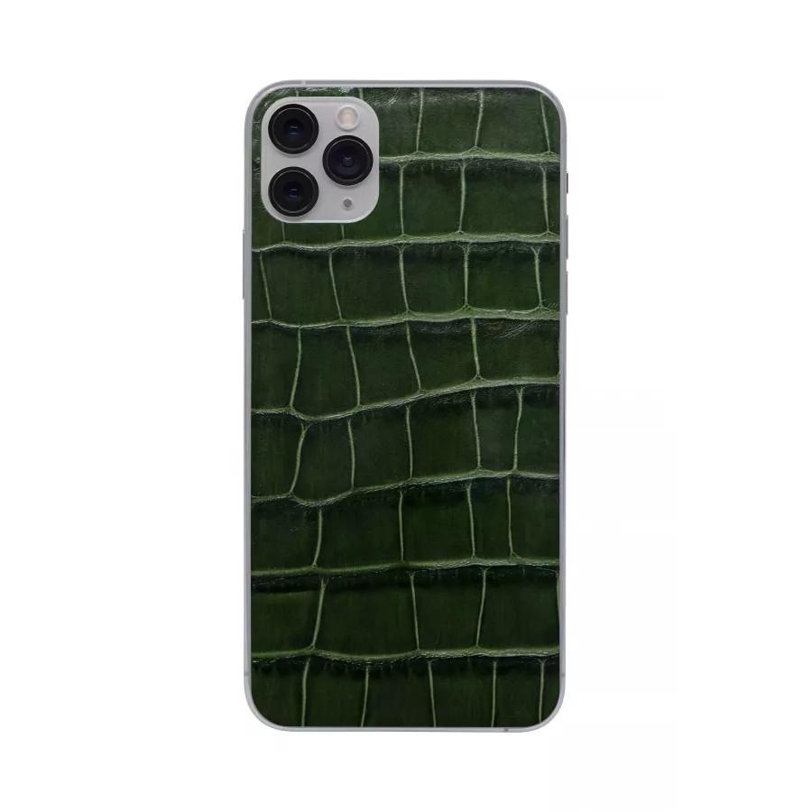 Защитная наклейка из натуральной кожи для iPhone 11 Pro Max, Вид Темно-зеленый. Вид 4