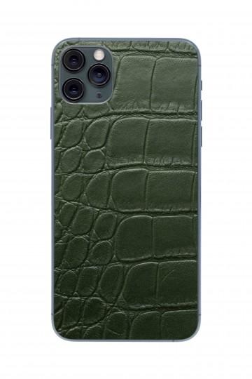 Защитная наклейка из натуральной кожи для iPhone 11 Pro Max, Вид Зеленый 3