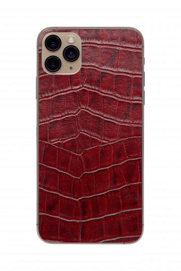 Защитная наклейка из натуральной кожи для iPhone 11 Pro Max, Вид Красный 1. Вид 1