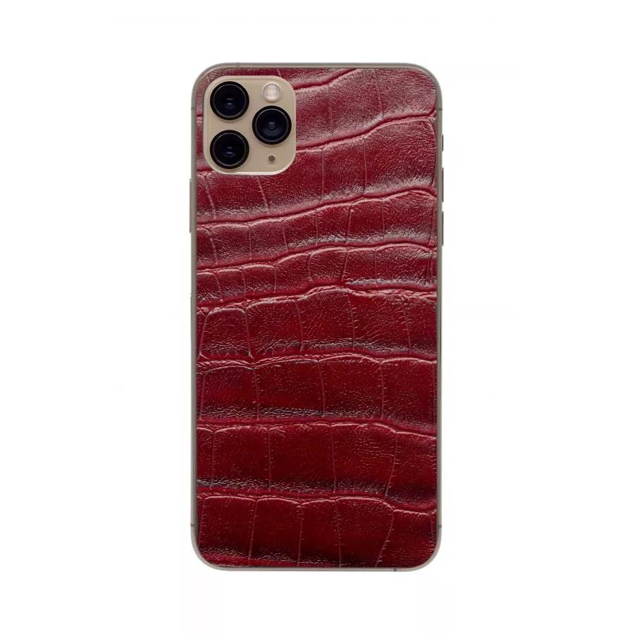 Защитная наклейка из натуральной кожи для iPhone 11 Pro Max, Вид Красный 3. Вид 2