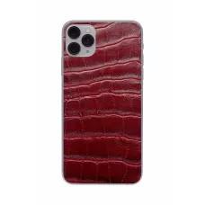 Защитная наклейка из натуральной кожи для iPhone 11 Pro Max, Вид Красный 3