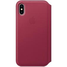 Кожаный чехол Apple Leather Folio для iPhone X - Лесная ягода (Berry)