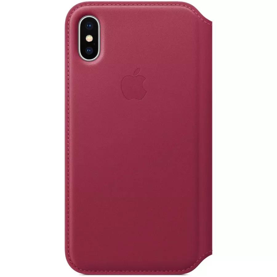 Кожаный чехол Apple Leather Folio для iPhone X - Лесная ягода (Berry). Вид 1
