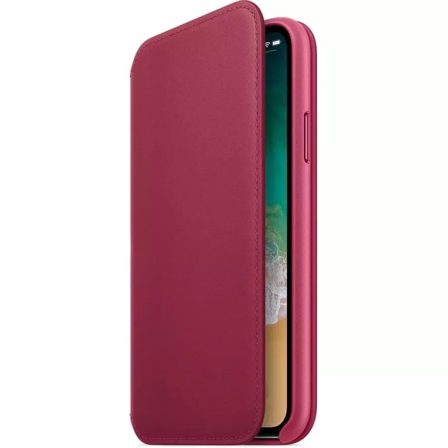 Кожаный чехол Apple Leather Folio для iPhone X - Лесная ягода (Berry). Вид 2