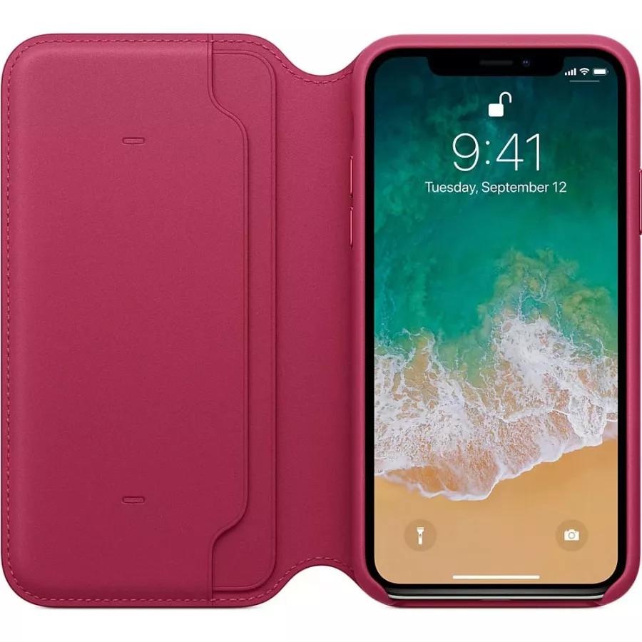 Кожаный чехол Apple Leather Folio для iPhone X - Лесная ягода (Berry). Вид 3