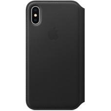 Кожаный чехол Apple Leather Folio для iPhone X - Черный (Black)