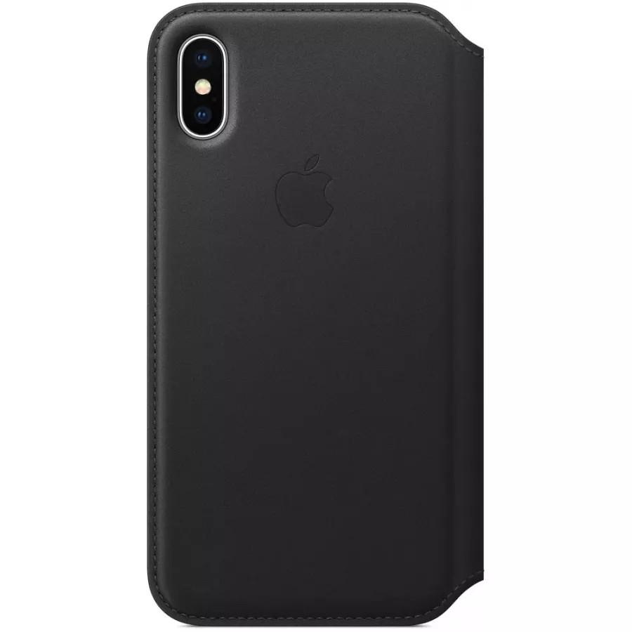 Кожаный чехол Apple Leather Folio для iPhone X - Черный (Black). Вид 1