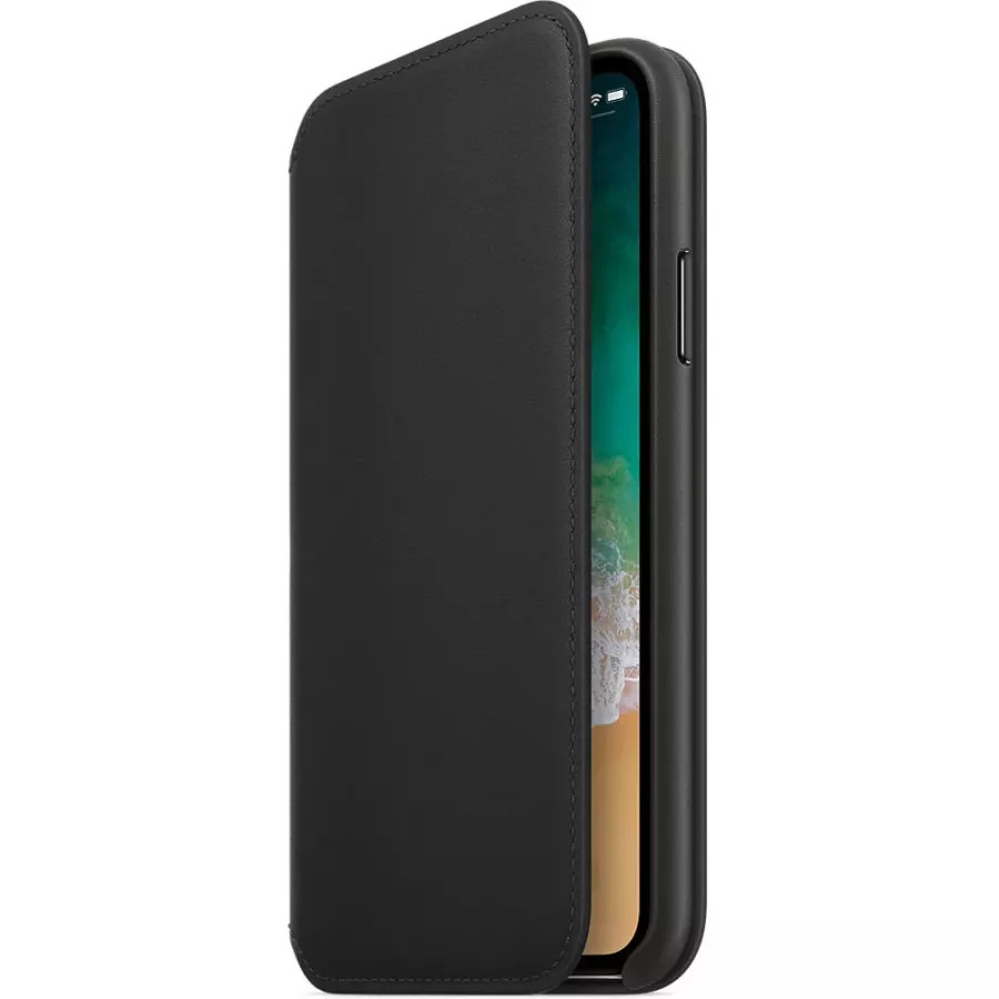 Кожаный чехол Apple Leather Folio для iPhone X - Черный (Black). Вид 2