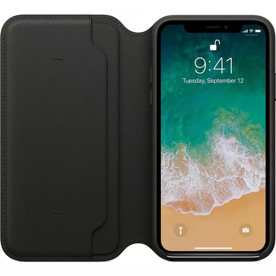 Кожаный чехол Apple Leather Folio для iPhone X - Черный (Black). Вид 3