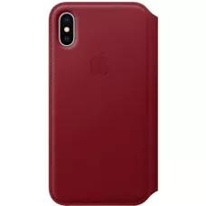 Кожаный чехол Apple Leather Folio для iPhone X - Красный (PRODUCT RED)