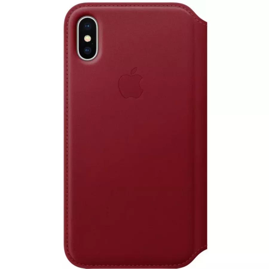Кожаный чехол Apple Leather Folio для iPhone X - Красный (PRODUCT RED). Вид 1