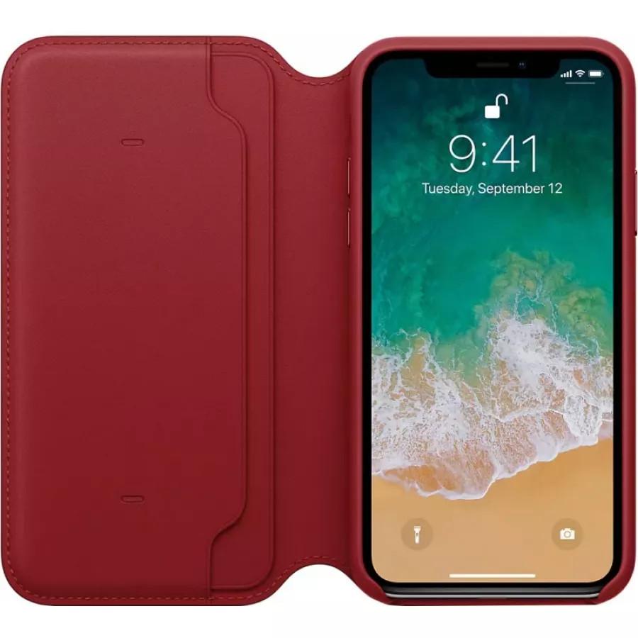 Кожаный чехол Apple Leather Folio для iPhone X - Красный (PRODUCT RED). Вид 2