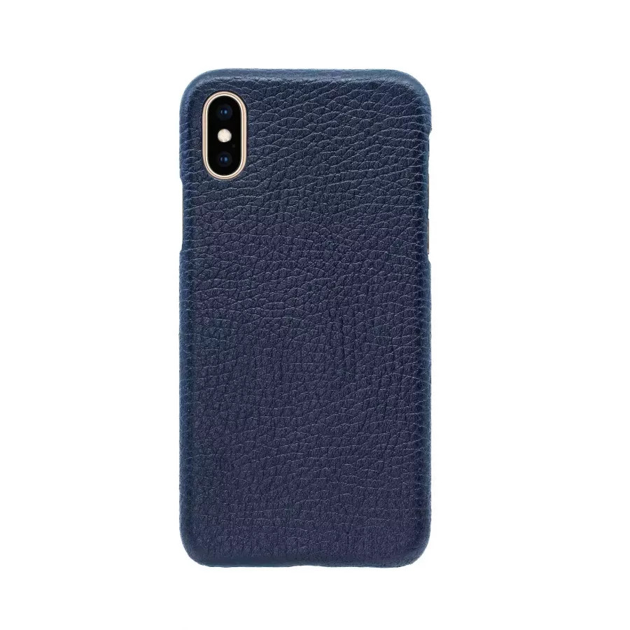 Чехол Natural Cow Hermes Leather Case для iPhone X/XS - Темно-синий (Dark Blue). Вид 2