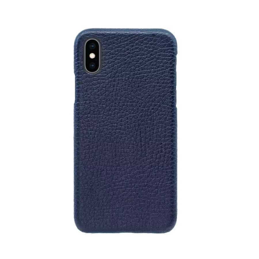 Чехол Natural Cow Hermes Leather Case для iPhone X/XS - Темно-синий (Dark Blue). Вид 3