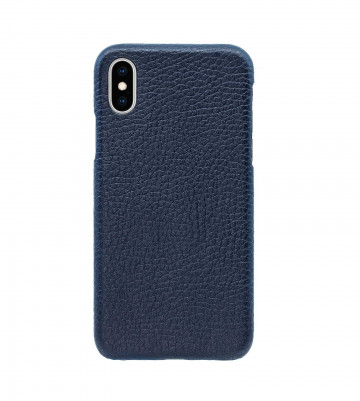 Чехол Natural Cow Hermes Leather Case для iPhone X/XS - Темно-синий (Dark Blue). Вид 1