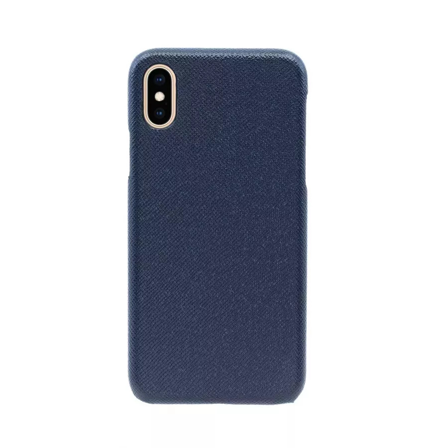 Чехол Natural Cow Tiffany Leather Case для iPhone X/XS - Темно-синий (Dark Blue). Вид 2