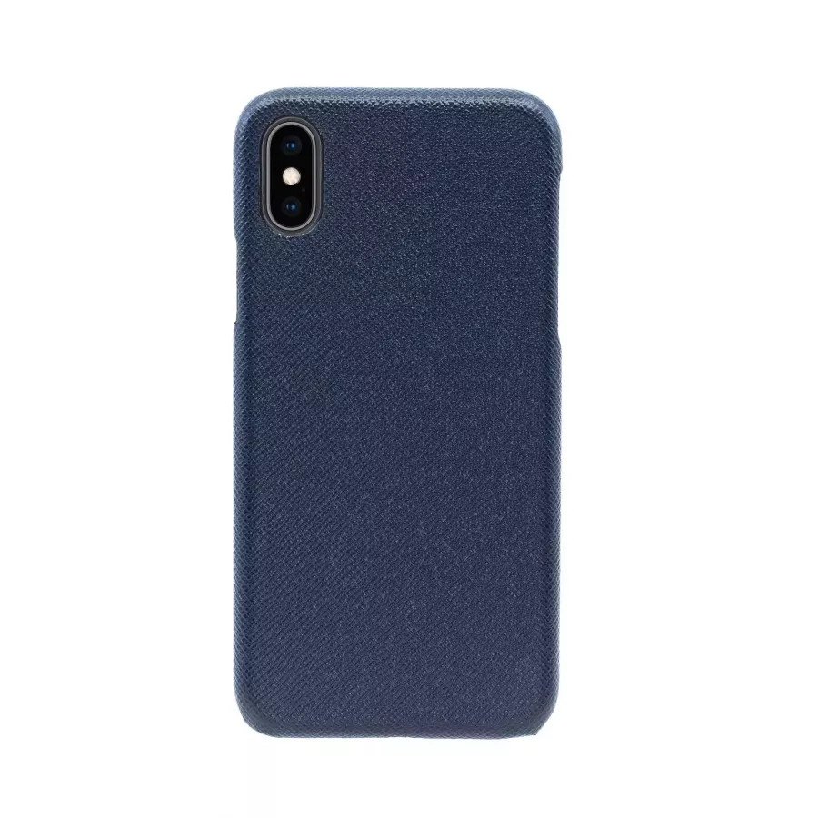 Чехол Natural Cow Tiffany Leather Case для iPhone X/XS - Темно-синий (Dark Blue). Вид 3