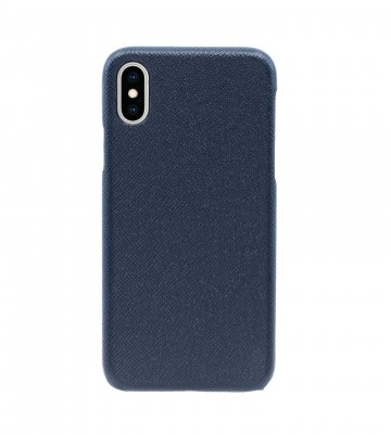 Чехол Natural Cow Tiffany Leather Case для iPhone X/XS - Темно-синий (Dark Blue). Вид 1