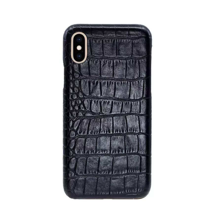 Чехол Croco Leather Case для iPhone X/XS - Черный (Black) Тиснение 1. Вид 3