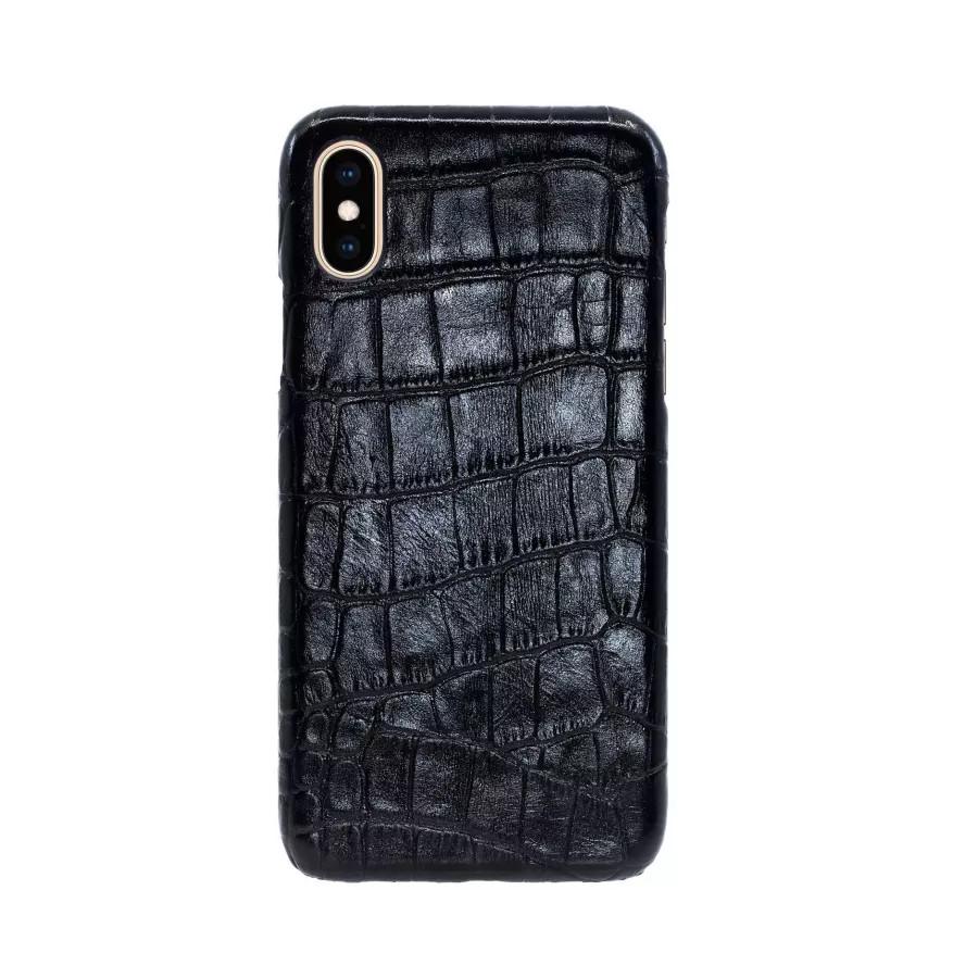 Купить Чехол Croco Leather Case для iPhone X/XS - Черный (Black) Тиснение 2 в Сочи